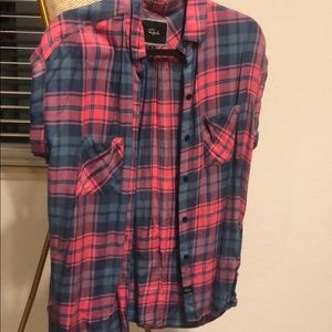 Rails LikeNew Short Sleeve Flannel Pink Blue Small